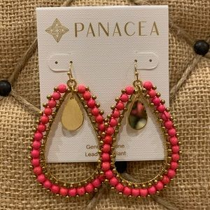 NORDSTROM Panacea Gold/Hot Pink Drop Earrings NWT